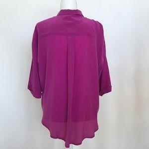 Anthropologie Tops - Maeve fuchsia silk cut out blouse